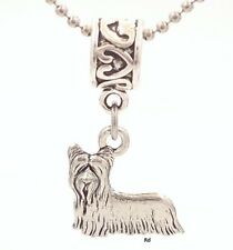 Skye Terrier Dog Breed Charm on Heart Print Slider for Bracelet Or Necklace