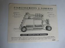 """catalogue prospectus Ets j SAMBRON : cidrerie ambulante type """" integrale """""""