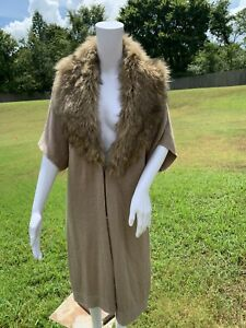 Chicos Full Length Cardigan Brown Faux Fur Trim Sweater Coat Size 2 Duster