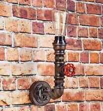 VINTAGE PIPE Wall Light Steampunk In Metallo Rustico Lampada larghezza 26 cm NERO o RUGGINE