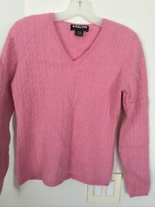 KIRKLAND 100% cashmere rose pink cable knit braids V-neck pullover sweater M