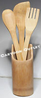 BAMBOO WOOD SPOON SET AND HOLDER 3 SPOONS KITCHEN ACCESSORY NEW GIFT SET QUALITY