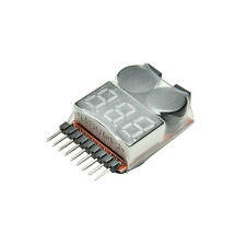 RC Lipo Battery Low Voltage Alarm 1S-8S Buzzer Indicator Checker Tester LED RSPM