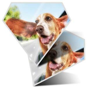 2 x Diamond Stickers 7.5 cm - Funny Basset Hound Dog Pets  #3703