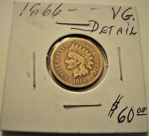 KEY DATE 1866 INDIAN HEAD CENT PENNY LOT.(VG. DETAIL)