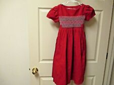 Girls Will'beth Red & green Smocked Christmas Dress Girl's Sz 4 Holiday Classic