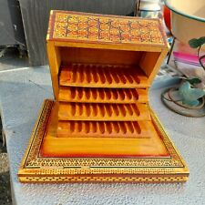 Antique Vintage Musical Cigarette inlaid wood Holder Box