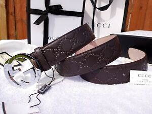 New Authentic Gucci Brown Leather Belt Interlocking Double GG Buckle Fits 34 Fal