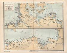 Rettungsstationen Deutsche Küste Nordsee Ostsee Rügen DGzRS   Lithographie 1896