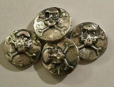1 oz .999 Silver hand poured skull and crossbones art bar pirate treasure mkbarz