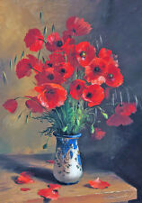 19th Century Wild Red Poppies Poppy Bouquet Master Painting Canvas Print
