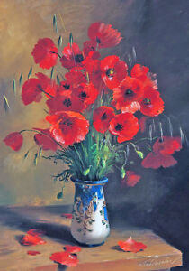 19th Century Wild Red Poppies Poppy Bouquet Master Painting Canvas Print A4