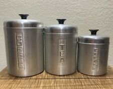 Vintage Mid Century Aluminum Canister Set Coffee, Tea & Grease. Made In Italy!!!