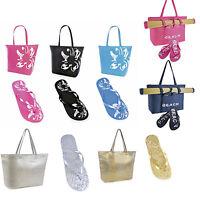 Womens Ladies Summer Metallic Flip flops Optional Beach Bag/Mat Size 3 4 5 6 7 8
