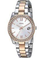 Fossil Women's Watch Scarlette Quartz Silver Tone Dial Two Tone Bracelet ES4372