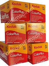 6 x KODAK COLOR PLUS 200 35mm 24exp CHEAP COLOUR CAMERA FILM by 1st CLASS POST