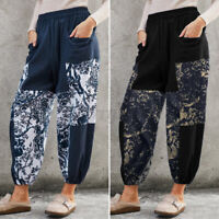 Women Elastic Waist Floral Print Cotton Trousers Casual Loose Cargo Pants UK
