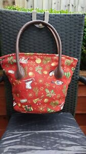 USED ONCE LADIES RED TAPESTRY LIKE BAG WITH LEATHER HANDLES BY VILLEROY & BOCH