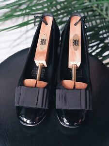 Top End Black Leather Shoes, Block Heels, Size 38