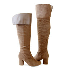"""Cuff or Unfold Cuff Suede 3"""" Covered Block Heel  Over the Knee High Boots Taupe"""