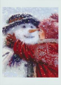 Art Print Christmas Winter Fun Girl making & Gives SNOWMAN HUG Snow Storm Fall
