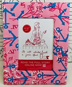 New Lilly Pulitzer Delta Gamma Picture Frame Photo Pink Sorority DG Blue Anchor