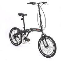 "20"" Mini Folding Bike 6 Speed Foldable Bicycle Shimano School Sports Black"