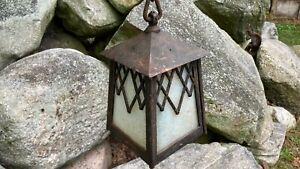 Antique Arts & Crafts Gothic Cast Iron Slag Glass Ceiling Porch Foyer Light