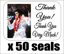 """50 Elvis Thank You Very Much! Envelope Seals / Labels / Stickers, 1"""" x 1.5"""""""