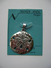 Sterling Silver Large Sand Dollar Pendant New