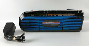 General Electric GE Sidestep 3-5610A - Blue AM/FM Radio Cassette Player 1980s
