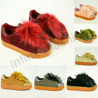 New Womens Ladies Flatform Platform Trainers Faux Fur Sneakers Shoes Size Uk 3-8