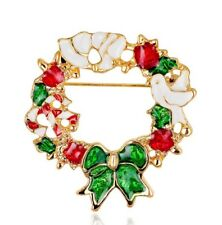 Christmas Dove Bowtie Wreath Stud Blouse Collar Clip Neck Tip Brooch Pin Gift AD