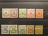 10 German 1923 Deutsche s Reich Millionen Stamp Collection Inflation Period PH