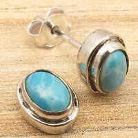 Simulated LARIMAR Gemstone Stud Earrings, 925 Silver Plated Over Solid Copper