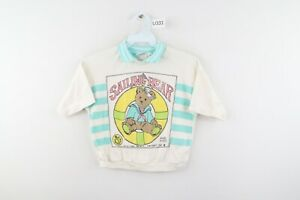 Vintage 80s Youth Medium Sailing Bear Striped Spell Out Collared Sweatshirt USA
