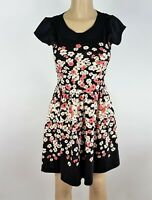 LC Lauren Conrad Dress Women Size 4 Black Pink Floral Fit & Flare Cocktail Party