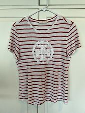 Tory Burch Applique Tee Red Stripe Size L