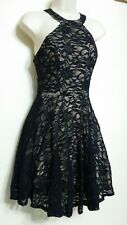 B DARLIN Black Nude Juniors All over Lace Halter Neck Fit-Flare Dress Size UK10