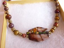 Vintage Graduated Bead Polished AGATE Stone Necklace