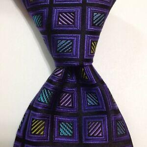 ROBERT TALBOTT Best of Class Men's 100% Silk Necktie Luxury Geometric Purple NWT