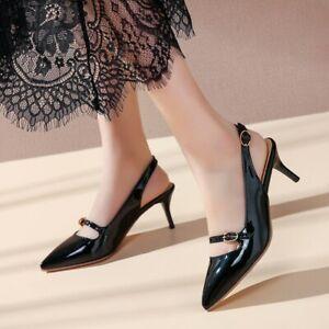 Ladies Pointed Toe Stilettos Heels Pumps Slingback Patent Leather Dress Shoes UK