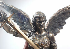 "14"" Saint Michael Bronze Color Patron Statue Figurine Religious Gift Church 3250"