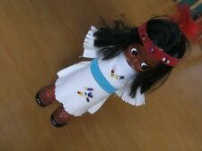 """Vintage Small Hard Plastic Knickerbocker Indian Doll Beaded Leather For Parts 6"""""""