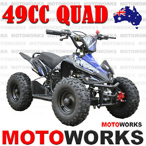 49CC QUAD ATV Bike Motoworks sports Pocket Gokart 4 Wheeler mini Buggy kids blue