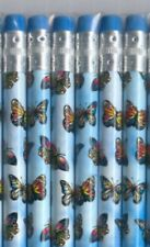 Butterfly's on blue colored pencils. Set of 6.