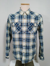 American Eagle Blue Plaid Aztec Long Sleeve Pearl Snap Men's Western Shirt Sz M