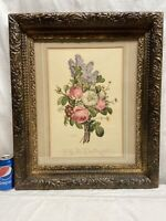 Vtg LARGE Victorian Style ORNATE Wood Framed Lilac Peony SPRING Bouquet Print