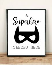 A Superhero Sleeps Here Quote Boy Play Room Bedroom Wall Poster Size A4 print