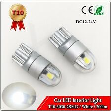 4X T10 W5W White LED Bulb for Car Interior Light 3030 2 SMD 200lm DC12-24V 6000K